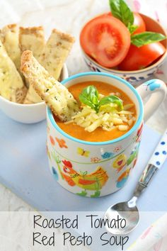 A delicious and comforting Roasted Tomato Soup, super easy to make and served with Cheddar Cheese Soldiers | My Fussy Eater blog