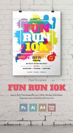 Fun Run 10K Flyer/Poster  PSD Template • Download ➝ https://graphicriver.net/item/fun-run-10k-flyerposter/17121769?ref=pxcr
