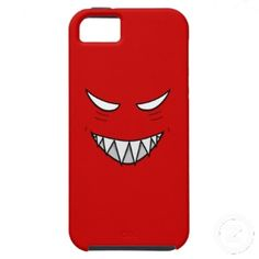 Tough Grinning Face With Evil Eyes Red iPhone 5 Case by borianag $47.95