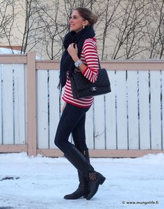 Stripes and dark denim.