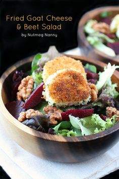 This fried goat cheese beet salad is the perfect mealtime salad. If you think goat cheese is delicious just wait until it's coated in bread crumbs and lightly fried!