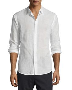 Melrose Linen-Cotton Sport Shirt, White by Vince at Neiman Marcus.