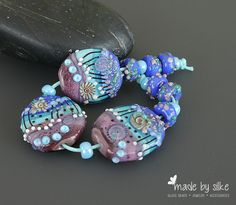 Handmade lampwork beads  set  |   Cracking Ice  |  artisan glass     |   set    |     made by Silke Buechler