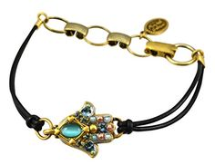 Best Bracelets For Women | Michal Golan Gold Plated Small Hamsa Hand Bracelet with Blue Cats Eye and Crystals on Leather Cord >>> See this great product. Note:It is Affiliate Link to Amazon.