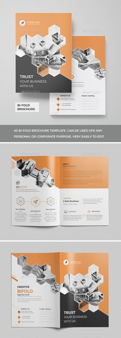 Buy Corporate Bi-Fold Brochure 2018 by Mister-Templater on GraphicRiver. Corporate Bi-Fold Brochure This layout is suitable for any project purpose. Very easy to use and customise. Graphic Design Brochure, Corporate Brochure Design, Bi Fold Brochure, Brochure Layout, Business Brochure, Brochure Template, Brochure Design Inspiration, Book Design Layout, Corporate Invitation