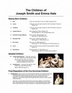 Children of Joseph and Emma Page 1 231x300 LDS Freebie Handout: The Children of Joseph and Emma Smith