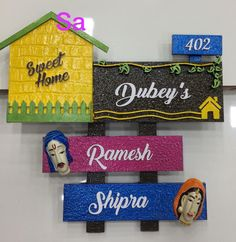 Jute Crafts, Clay Crafts, Wood Crafts, Diy Crafts For Home Decor, Creative Crafts, Arts And Crafts, Clay Wall Art, Clay Art, Wooden Name Plates