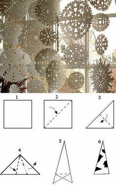 Schneeflocken aus Papier ausschneiden - Anleitung
