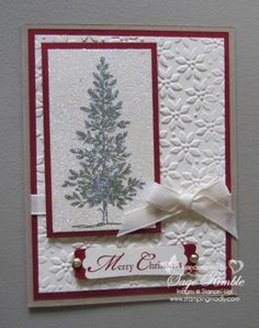 Since it's not New Year's yet, I thought I'd post one last Christmas card idea while we're all still holding tightly to the Christmas magic.  This sparkly and fun card uses the lovely as a tree stamp set,  petals-a-plenty embossing folder and  dazzling diamonds glitter.  www.stampingmadly.com