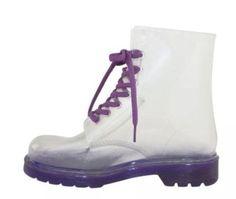 Chers-Femme-Gelee-Bottes-Lacets-Bottes-pluie-caoutchouc-clair-doc-chaussures-taille