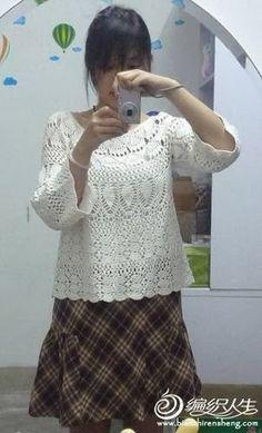 crochet japonés blusa calada - CARAMELO ARDIENTE es... LA PRINCESA DEL CROCHET
