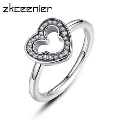 53c6125f7 Dropshipping New Collection Mickey Silver Heart Finger Pandora Ring With  Clear CZ For Women Wedding Original