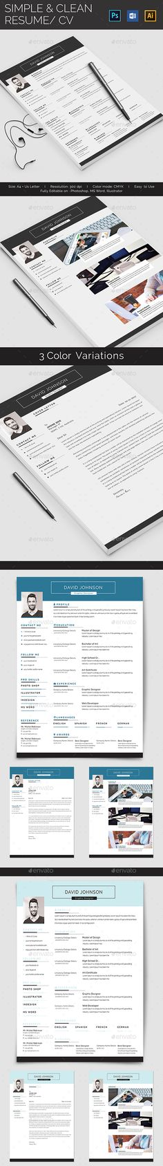 Simple Resume Template Set Simple, Simple resume template and Resume - easy simple resume template