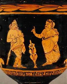 Dispute between man and wife, comedy scene. Krater from Apulia, mid 4th Inv. IV 466   Kunsthistorisches Museum, Antikensammlung, Vienna, Austria