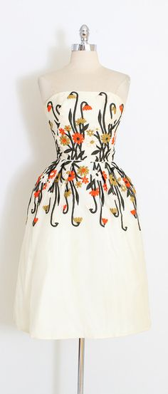 551cac415b4 vintage 1950s dress * gorgeous organza dress * heavy floral embroidery *  thin straps can