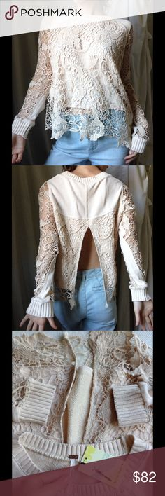 Free People Open Back Cream Lace Beach Sweater Wow. Just gorgeous and excellent new condition. No rips or stains. Smoke free home. Cozy. Comfy. Rib knit wide crew neck. Scalloped hem. Lounge Sweatshirt material. Get ready for that summer beach breeze. 68% cotton 22% polyester temperature rayon. Main fabric 100% cotton. Machine wash cold. Swim cover up. Free People Tops Tunics