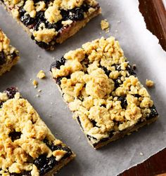 Blueberry Oat Bar; An oat-crust layered blueberry treat topped with buttery streusel.