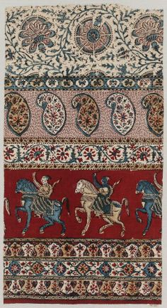 Piece of printed cotton Indian, century Textile Prints, Textile Design, Textile Art, Fabric Design, Ethnic Patterns, Textile Patterns, Print Patterns, Indian Fabric, Indian Textiles