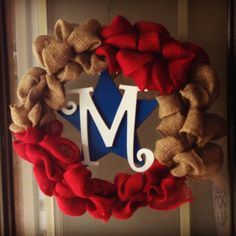 4th of July wreath monogram