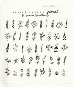 """journalsanctuary: """" Doodle ideas 2 - floral I've been drawing these simple branches and flowers in my spreads recently and wanted to make some sort of a reference sheet, but then I though it'd be nice to share it with you! You can use these in your..."""""""