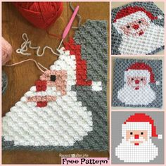 This Crochet Santa Pixel Square could be a great gift, or decoration on a table too! Crochet C2c Pattern, Crochet Square Patterns, Crochet Animal Patterns, Crochet Blanket Patterns, Crochet Squares, Free Pattern, Christmas Crochet Blanket, Crochet Santa, Christmas Knitting Patterns