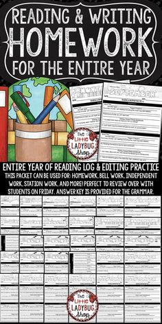 You will Love this Homework Packet for Grammar and Homework Reading Logs perfect for your 3rd Grade, 4th Grade and 5th Grade students! It is to help students show comprehension in their daily reading. I have created an easy to use homework packet that has a monthly set of homework that can easily target the skills we review for language and reading. Skills: Main Idea, Summary, Predictions. Writing: Dialogue, Usage, Commas, Quotations, Capitalization and more!