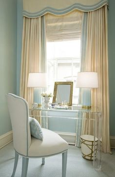 bedrooms - Acrylic lucite desk ivory window treatments blue lamps cornice box blue walls Kelley Interior Design via House of Turquoise House Design, Interior Design Blog, Decor, Interior Design, Serene Bedroom, Home, Interior, Finding A House, Home Decor