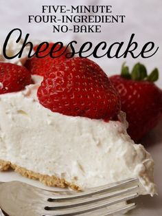 A quick and easy cheesecake recipe that takes only a few minutes to prepare with a pre-made graham cracker crust. The post Five-Minute Four-Ingredient No-Bake Cheesecake appeared first on Win Dessert. Dessert Simple, Bon Dessert, Dessert Blog, Quick And Easy Cheesecake Recipe, Baked Cheesecake Recipe, Homemade Cheesecake, Cheesecake Bites, Basic Cheesecake, Raspberry Cheesecake