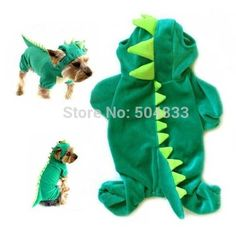 Dino design puppy dogs festvial clothes pets fleece cosplay jumpsuit XS-XXL green red yellow
