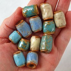 Your place to buy and sell all things handmade Pottery beads, A 12 bead set of Handmade ceramic beads with holes, perfect for dreads, macrame and jewelry making Ceramic Jewelry, Ceramic Beads, Clay Jewelry, Ceramic Spoons, Ceramic Clay, Ceramic Pottery, Ceramic Wall Art, Ceramic Painting, Painted Ceramics