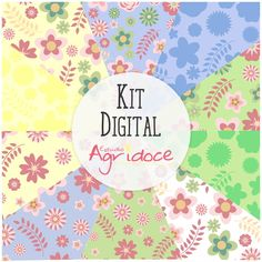 Kit Digital Papéis Flores