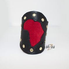 Black/Red Afrika Leather cuff by JahzaraDesignStudio on Etsy, $40.00