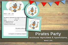 Πάρτυ Πειρατές. Εκτυπώστε δωρεάν ταμπελάκια & προσκλήσεις Pirate Party, Party Printables, Pirates, Games, How To Make, Decor, Decoration, Gaming, Decorating