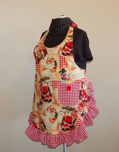 Plus Size Ruffled Holiday Apron with Santa by SusiesTieOneOnAprons