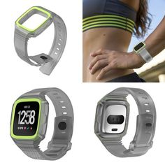 Fitbit-Versa-Bands-w-Cover-for-Women-Men-TPU-Sport-Strap-Replacement-Ventilatio Apple Watch Accessories, Running Watch, Silver Pocket Watch, Fitness Tracker, Smart Watch, Fitbit, Bands, Sport, Cover