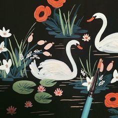 swan scene   painting by Anna Bond