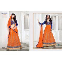 SemiStitched - Orange Color Attitude Time 2 in 1 Designer lehanga choli - By Thambi shopping