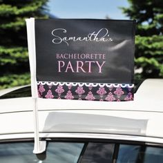 Damask Bachelorette Car Flag #Wedding