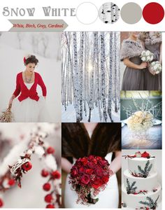 Snow White Wedding Inspiration Board. White, birch, gray, and cardinal red