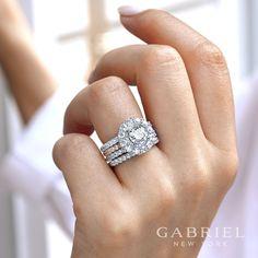14k White/Rose Gold Double Halo Round Contemporary Diamond Engagement Ring #Engagementring #Engagementrings #Weddingring #GabrielNY #GabrielandCo #Diamonds #Love #Halo #HaloEngagementRing #DoubleHalo #RoseGold