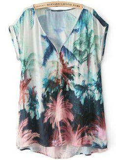 Short Sleeve Coconut Tree Print Blouse