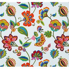 This is a pink, orange, blue and yellow floral cotton twill drapery fabric, suitable for any decor in the home or office. Perfect for pillows, drapes and Discount Fabric Online, Buy Fabric Online, Covington Fabric, Paisley Art, Hippie Flowers, Batik Pattern, Blue Pottery, Embroidery Fabric, Botanical Flowers