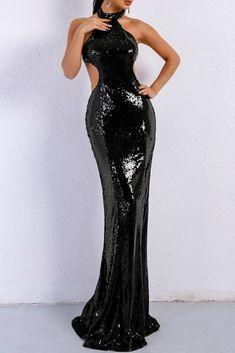 Honey Couture MONICE Black Cut Out Halter Neckline Sequin Formal Gown Dress