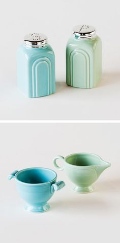 Retro Salt and Pepper Stoneware Shakers | dotandbo.com   #DotandBoDream