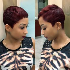 "3,034 Likes, 149 Comments - Christol (@salonchristol) on Instagram: ""Simply Cute Black Cherry Pixie """