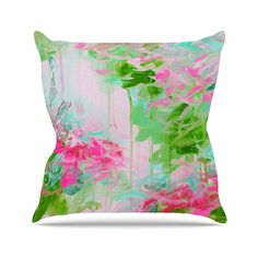 KESS InHouse JD1142AOP03 18 x 18-Inch 'Ebi Emporium Whispered Song 2 Pink Green Teal' Outdoor Throw Cushion - Multi-Colour