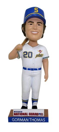 The MIlwaukee Brewers are giving away this 1969 Seattle Pilots Stormin' Gorman Thomas bobblehead.