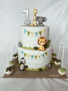 WILD ONE Geburtstagstorte #firstbirthday #wildone #fondant #safari #cake #cakepops #leafs #lion #giraffe #zebra #elephant Fondant, Giraffe, Elephant, Wild Ones, Cakepops, Safari, Lion, Birthday Cake, Desserts