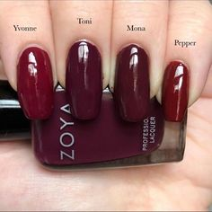 Zoya Yvonne, Toni, Mona & Pepper Zoya Nail Polish, Nails, Beauty Routines, Nail Colors, My Design, Finger, Nail Art, Stuffed Peppers, Claws
