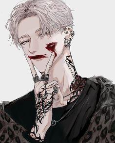 king for a day - pierce the veil Anime Boys, Dark Anime Guys, Hot Anime Boy, Cute Anime Guys, Manga Art, Manga Anime, Anime Art, Art Goth, Gato Anime